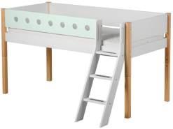 Flexa 'White' Halbhochbett weiß/natur/mint, schräge Leiter, 90x200cm