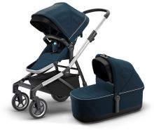 Thule Sleek Kinderwagen Set 3 in 1 mit Cybex Aton 5 Babyschale Soho Grey Navy blue