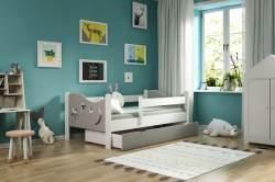 Kinderbettenwelt 'Chrisi' Kinderbett 80x180 cm, Grau/Weiß, Kiefer massiv, inkl. Schublade, Lattenrost und Matratze