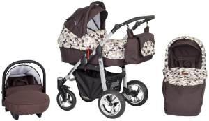 SaintBaby 'Silver Grey' Kombikinderwagen 3in1 Brown Magic, inkl. Babywanne, Babyschale und Isofix