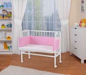 WALDIN Beistellbett mit Matratze, höhenverstellbar, Große Liegefläche, Ausstattung Punkte-rosa, Gestell Weiß lackiert