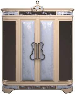 Casa Padrino Luxus Designer Kinderzimmer Kleiderschrank Blau / Beige / Schwarz / Silber / Gold 200 x 60 x H. 250 cm - Kinderzimmer Möbel - Hotel Möbel - Luxus Qualität - Made in Italy