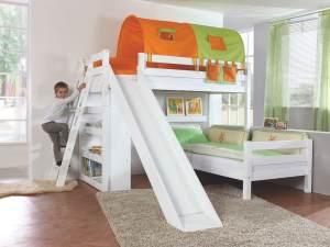 Relita 'Sky' Etagenbett weiß inkl. Stoffset 'Grün/Orange' und Matratzen