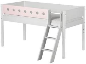 Flexa 'White' Halbhochbett weiß/rosa, schräge Leiter, 90x200cm