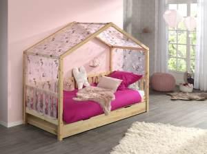 Vipack 'Dallas 1' Hausbett 90 x 200 cm, natur, mit Bettschublade und Textilhimmel