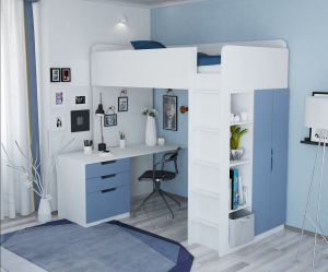 Polini Kids Funktions-Hochbett weiß/blau, inkl.Kleiderschrank und Schreibtisch