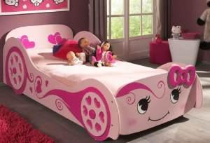 Pretty Girl Autobett Kinderbett Spielbett Bett 90x200 cm Rosa, inkl. Matratze Soft