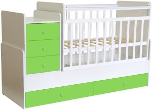 Polini Kids 'Simple 1100' Kombi-Kinderbett 60 x 120/170 cm, weiß/grün, höhenverstellbar, mit Schaukelfunktion, inkl. Kommode