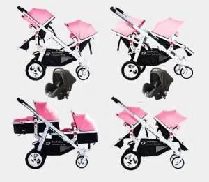 Babyfivestar Geschwisterwagen Pink inkl. zwei Babyschalen