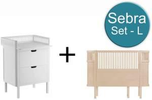 Sebra Baby & Juniorbett mit Kommode Set-L Wooden Edition Weiss