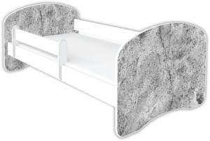Clamaro 'Schlummerland Dekor' Kinderbett 80x160 cm, Design 24, inkl. Lattenrost, Matratze und Rausfallschutz (ohne Schublade)