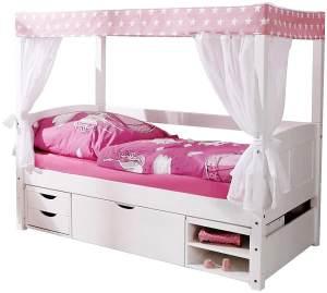 Ticaa 'Stern Rosa' Himmelbett Mini Kiefer Weiß inkl. Bettkasten 'Marlies' 80x160