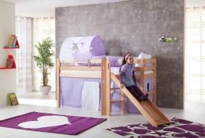 Relita 'Eliyas' Spielbett natur inkl. Rutsche und Textilset Vorhang, 1-er Tunnel und Tasche 'purple/weiß/herz'