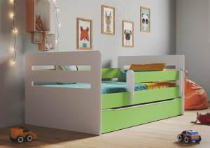 Kinderbett Jugendbett Grün mit Rausfallschutz Schubalde und Lattenrost Kinderbetten für Mädchen und Junge - Tomi 80 x 140 cm