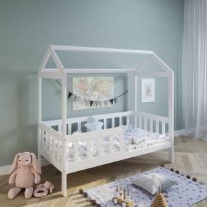 Hausbett Kinderbett 80x160 cm mit Rausfallschutz & Lattenrost wei 160 x 80 fr Mdchen und Jungen Massivholz Kiefer