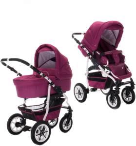 Bebebi Bellami | 2 in 1 Kombi Kinderwagen | Hartgummireifen | Farbe: Bellamore