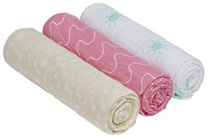 Lässig 'Swaddle & Burp Blanket L' 3-er Pack Pucktücher Summer Dream Girls
