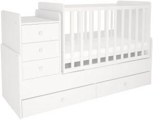 Polini Kids 'Simple 1100' Kombi-Kinderbett 60 x 120/170 cm, weiß, höhenverstellbar, mit Schaukelfunktion, inkl. Kommode
