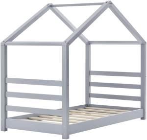 en.casa Hausbett 80x160cm Grau, inkl. Lattenrost und Matratze
