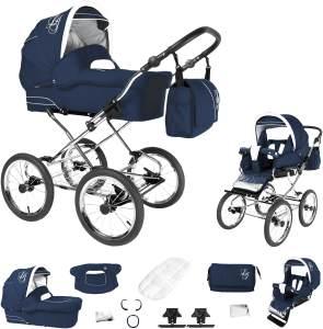 Bebebi Loving   2 in 1 Kombi Kinderwagen   Nostalgie Kinderwagen   Farbe: Blue Ardent
