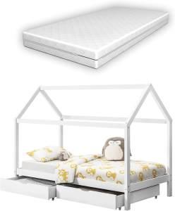 en.casa Hausbett weiß, 90x200cm, inkl. Matratze und Schubladen