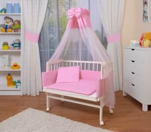 WALDIN Beistellbett mit Matratze und Nestchen, höhenverstellbar, Ausstattung rosa/weiß, Gestell Weiß lackiert