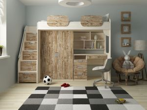 Hochbett 'Geko' 90x200cm, Rustikal dunkel, inkl. Kleiderschrank, Schreibtisch und Bücherregal