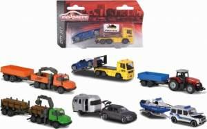 Majorette Trailer Assortment, Spielzeugauto mit Anhänger, Die-Cast Fahrzeug, Federung, Türen zum Öffnen, Freilauf, 6 versch. Modelle, Lieferung: 1 Stück, zufällige Auswahl, 13 cm