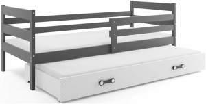 Stylefy Kera mit Extrabett Funktionsbett 90x200 cm Graphit Weiß