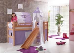 Relita 'Eliyas' Spielbett natur inkl. Rutsche und Textilset Vorhang, 1-er Tunnel, Turm und Tasche 'purple/weiß/herz'