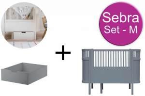 Sebra Baby & Juniorbett mit Schublade Set-M Dunkelgrau