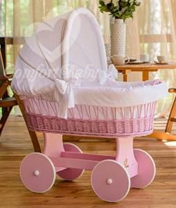 ComfortBaby 'Snugly' Stubenwagen rosa, inkl. Ausstattung weiß