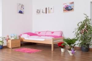 Kinderbett/JugendbettEasy Premium Line K1/1n, Buche Vollholz massiv Natur - Maße: 90 x 200 cm