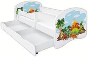 Clamaro 'Schlummerland Dinosaurier' Kinderbett 80x180 cm, Design 4, inkl. Lattenrost, Matratze, Rausfallschutz und Schublade