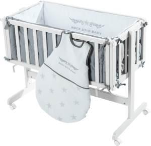 Roba 'Room & Cradle' Beistellbett weiß, inkl. Ausstattung 'Rock Star Baby'