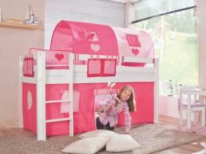 Relita Halbhohes Spielbett ALEX Buche massiv weiß lackiert mit Stoffset pink/rosa/herz