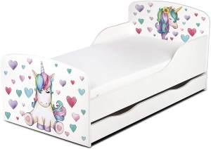 Leomark Kinderbett 70x140 cm, Einhorn, mit Matratze, Schublade und Lattenrost