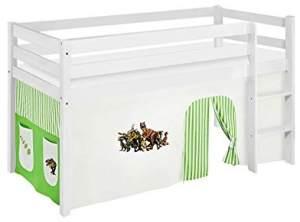 Lilokids 'Jelle' Spielbett 90 x 200 cm, Dinos Grün Beige, Kiefer massiv, mit Vorhang