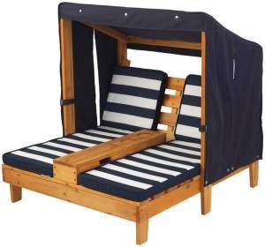 KidKraft 2-Sitzer Gartenliege mit Sonnendach und Tassenhaltern, in honey, Bezüge navy/weiß gestreift, aus Holz