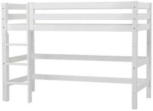 Hoppekids 'Premium' Hochbett 90x200 cm, weiß, inkl. Lattenrost, gerade Leiter, nachhaltig