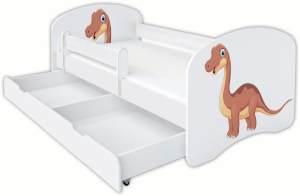 Clamaro 'Schlummerland Dinosaurier' Kinderbett 80x180 cm, Design 8, inkl. Lattenrost, Matratze, Rausfallschutz und Schublade