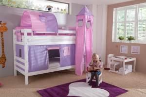 Etagenbett BENI Buche massiv weiß lackiert mit Textilset purple/rosa/herz