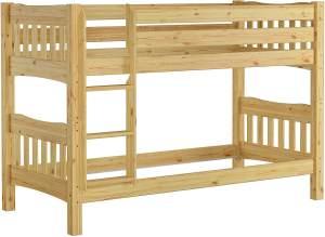Erst-Holz 'DeLuxe' Etagenbett 90x200 cm, natur, Kiefer massiv