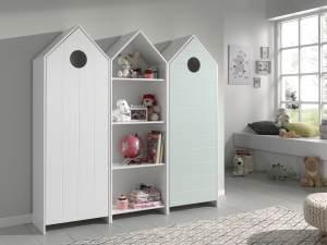 Vipack 'Casami' 3-tlg. Schrank weiß, mint, mit 12 Ablagefächern und 2 Türen