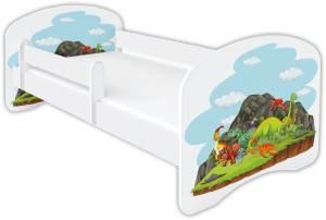 Clamaro 'Schlummerland Dinosaurier' Kinderbett 80x160 cm, Design 5, inkl. Lattenrost, Matratze und Rausfallschutz (ohne Schublade)