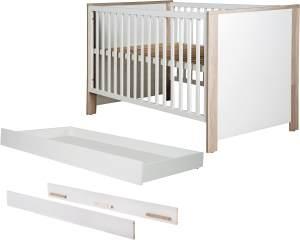 Roba 'Olaf' Kombi-Kinderbett 70x140cm, Luna Elm/weiß, 3-fach höhenverstellbar, 3 Schlupfsprossen, umbaubar, inkl. Bettschublade und Umbauseiten