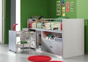 Kinderbett Jugendbett Bonny 90 x 200 cm Weiß / Silbergrau, inkl. Matratze Basic