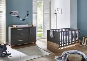 Arthur Berndt 'Cloe' Babyzimmer Sparset 2-teilig, Kinderbett (70 x 140 cm) und Wickelkommode mit Wickelaufsatz Lava Matt / Eiche Sägerau