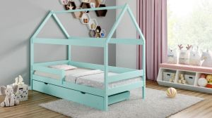 Kinderbettenwelt 'Home Plus' Hausbett 80x180 cm, türkis, Kiefer massiv, mit Schublade und Matratze