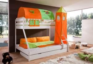 Relita 'Mike' Etagenbett weiß, inkl. Bettschublade und Textilset 2-er Tunnel, Turm und Tasche 'grün/orange'